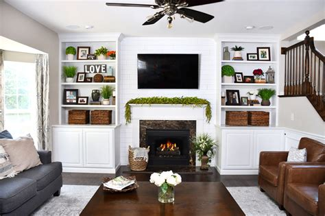 Family Rooms We by Family Room Makeover With White Built Ins And Charcoal Couches