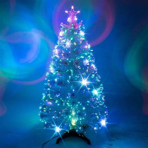 fibre optic white christmas tree multi coloured xmas