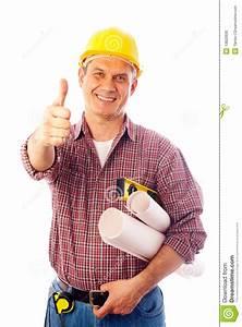 Builder Shows Gesture Ok Stock Photo  Image Of Handyman