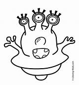 Alien Coloring Pages Eyes Printable Aliens Drawing Three Face Space Template Scary Sheets Print Easy Clipart Getdrawings Eye Getcolorings Templates sketch template
