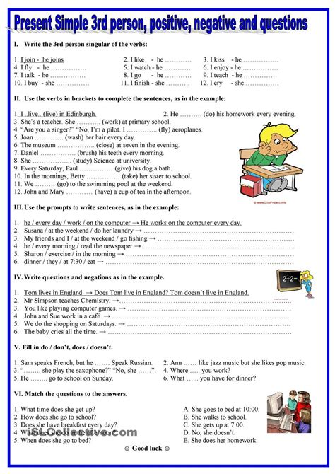 Present Simple Exercises Pdf 6 Primaria  English Exercises Adverbs Of Frequencypast Simple