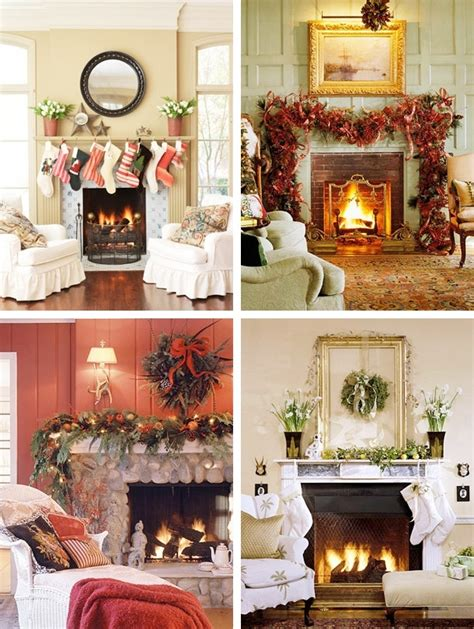 decorating  fireplace  christmas ideas  home