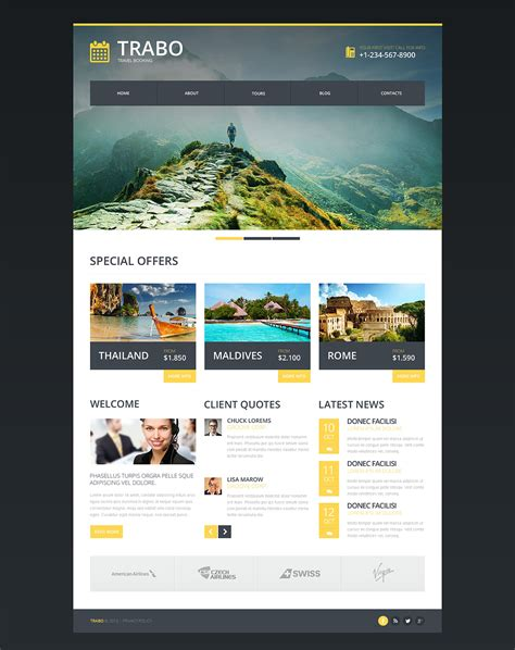 Responsive Website Templates Travel Agency Responsive Website Template 47338