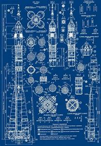 lucienballard: Blueprint of a Russian Soyuz rocket. via ...