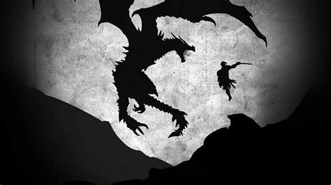 au skyrim dragon illustration art bw wallpaper