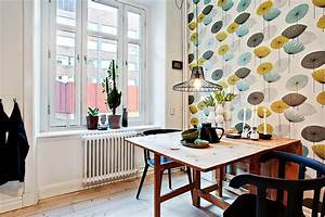 appartement design deco cuisine vintage tapisserie With tapisserie de cuisine moderne