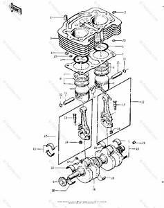 Kawasaki Motorcycle 1977 Oem Parts Diagram For Cylinder  Pistons  Crankshaft   U0026 39 76