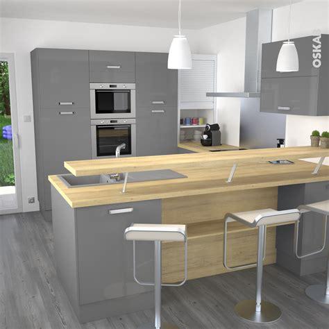 plan de maison avec cuisine ouverte cuisine grise moderne façade stecia gris brillant volet