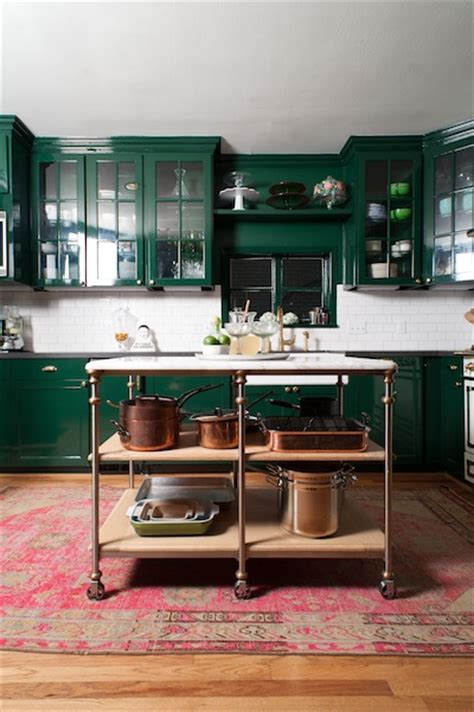 dark green cabinets  copper pots bailey mccarth