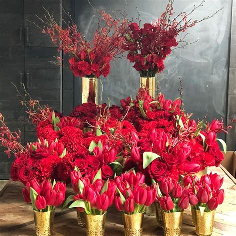 chinese  year flowers red centerpieces red flower