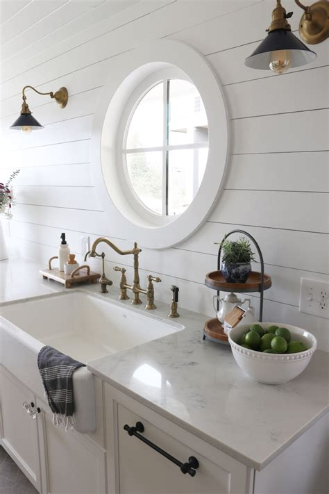 Kitchens With Shiplap Walls by Shiplap Kitchen Planked Walls Sink Stove The