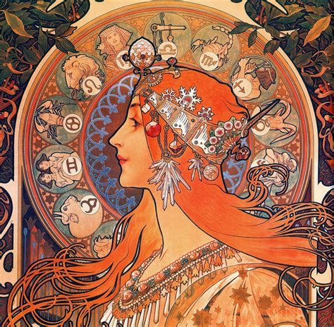 art nouveau style ls beautiful paintings alfons mucha zodiac 1896
