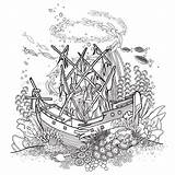 Ship Sunken Coloring Coral Reef Ocean Ancient Line Shipwreck Fish Drawn Vector Drawing Pages Sea Clipart Wreck Isolated Plants Pirate sketch template