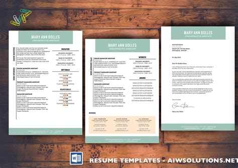 Professional Resume Template, Cv Template, Extra Page