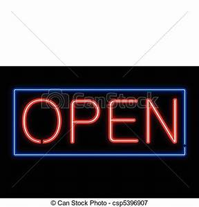 Neon open sign vectors illustration Search Clipart