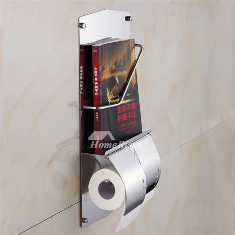 chrome magazine stainless steel wall mount toilet paper