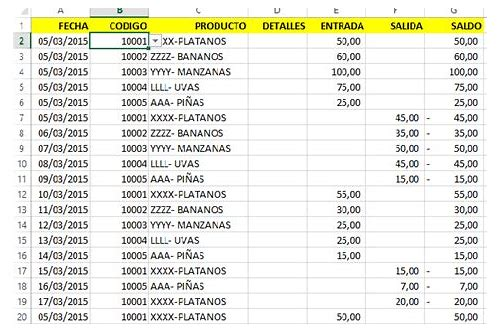 base de datos en excel download