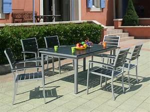 Table Jardin Composite : salon de jardin alu bois composite 1 table 150 210 x 96 6 fauteuils 54474 ~ Teatrodelosmanantiales.com Idées de Décoration