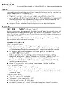chrono functional retail store manager resume sle managnment resumes