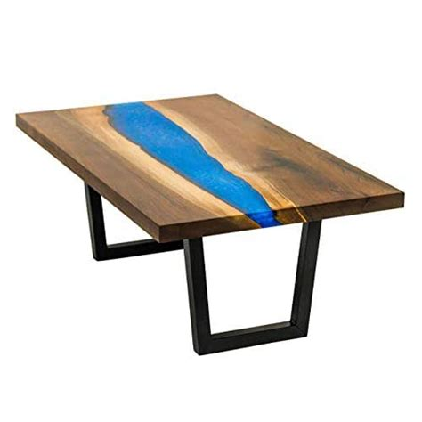 For the fact, the the epoxy reacted with oil, it's was polished again. Amazon.com: River Coffee Table From Live Edge Walnut with Sparkling Blue Epoxy Resin: Handmade