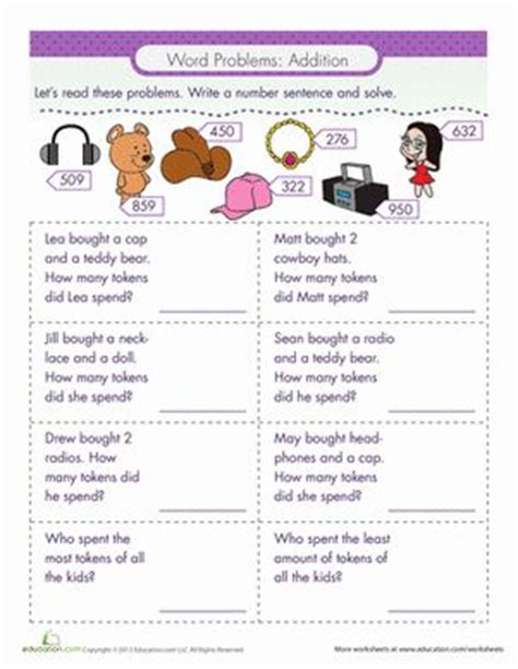 word problems addition education tools  worksheets