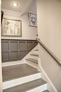 Love this painted stairs for basement beautiful for Painted basement stairs