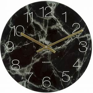 Black glass marble wall clock 40cm for Black glass wall clock