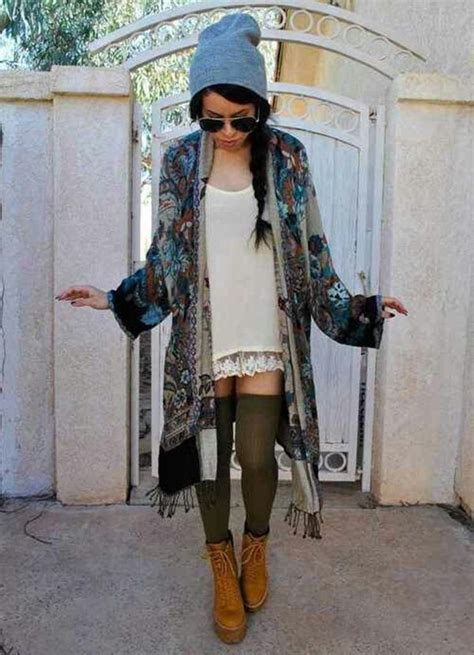 40 Cute Hipster Outfits For Girls | Good vibes. | Pinterest | Kimonos Girls and Beanie