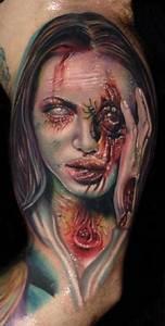 Tattoos Frauen Arm : unglaublich aussehendes farbiges im horror stil sehr detailliertes bizeps tattoo mit zombie frau ~ Frokenaadalensverden.com Haus und Dekorationen
