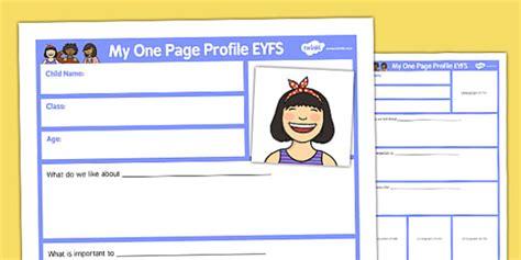 page profile eyfs teacher