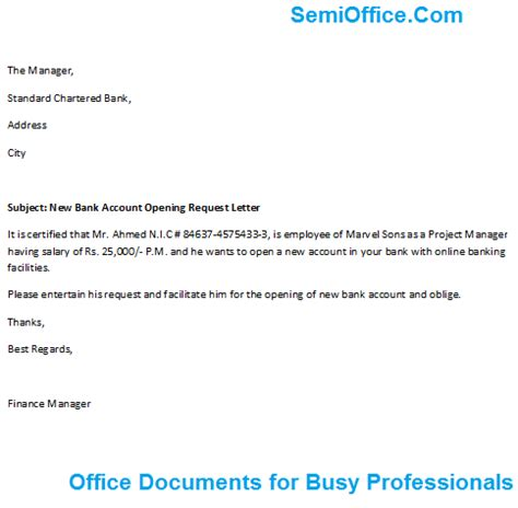 request letter format  bank manager  glow
