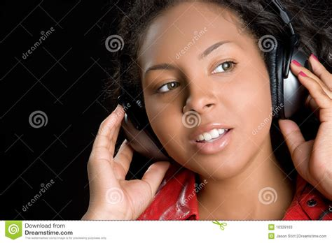 girl wearing headphones stock  image
