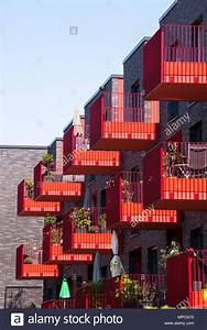 Germany  Cologne  Red Balconies Of The Apartment Building Clouth 3 In The Clouth Quarter In The