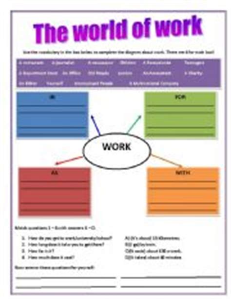 teaching worksheets the world of work