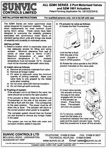 Sunvic Installation Leaflet Sm1801 Actuators