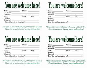 Church visitor card template word 4 best professional for Church welcome card template