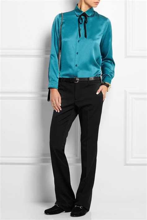 gucci blouse gucci silk satin blouse in blue lyst