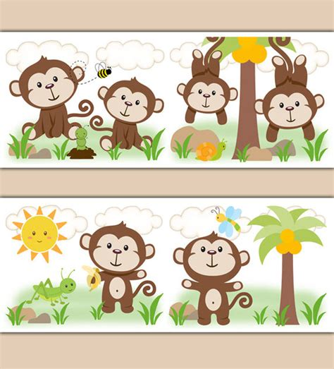 Monkey Wallpaper Border Wall Decal Jungle Safari Animal. Bambi Stickers. Where Can I Buy Custom Stickers. Parking Garage Murals. Ripndip Decals. Folk Art Banners. Trade Signs Of Stroke. Hieroglyph Lettering. Handmade Wooden Murals