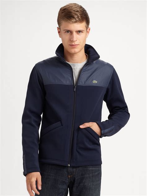 fleece bomber jacket lacoste fleece jacket in blue for lyst
