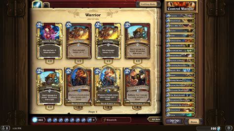 my complete golden control warrior deck warrior class