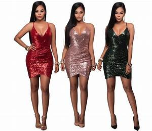 sexy ladies v neck slim fit sequin flapper dress new year With robe pour nouvel an