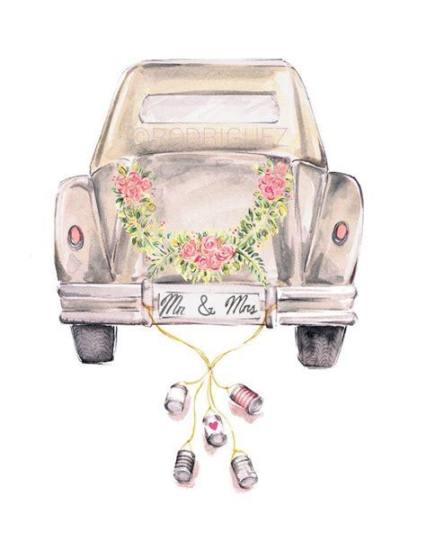 vintage wedding getaway car watercolor  markettestudio