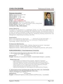 resume model for civil engineers sle cv of civil engineer