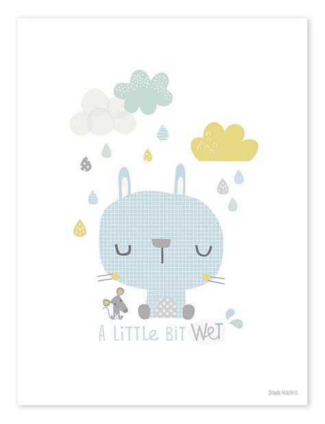 Allposters Wandtattoo Kinderzimmer by Lilipinso Kinderzimmer Poster Hase Im Regen Blau Pastell
