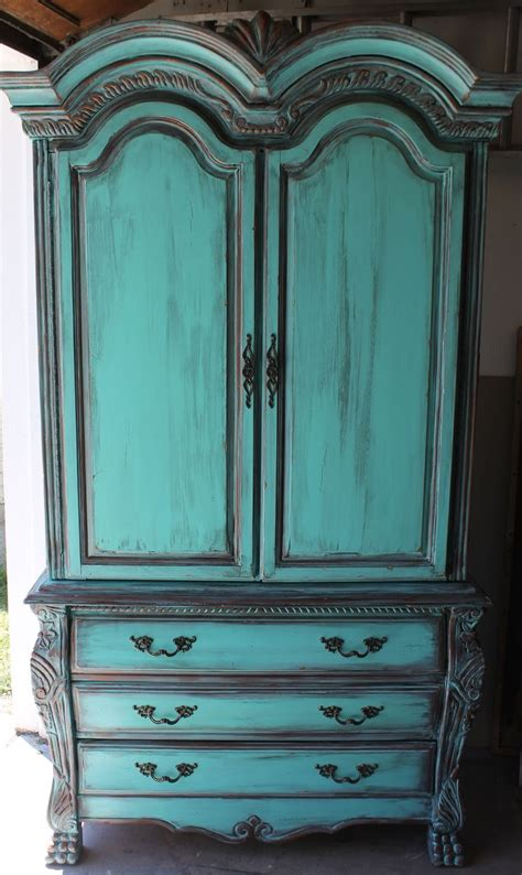 how to repaint kitchen cabinet aqua turquoise armoire with aged copper patina 7341