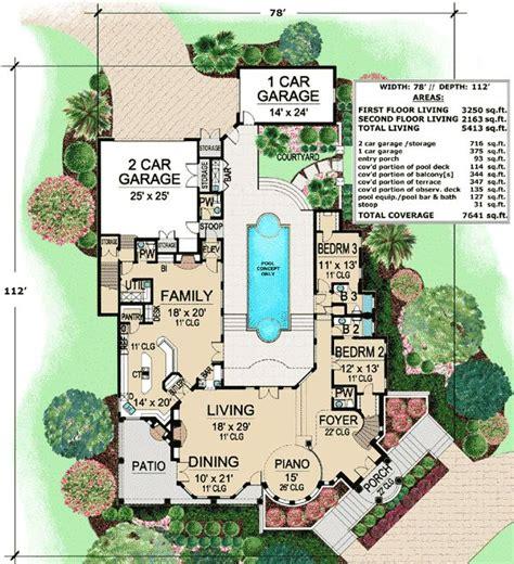 plan tx mediterranean  central courtyard house