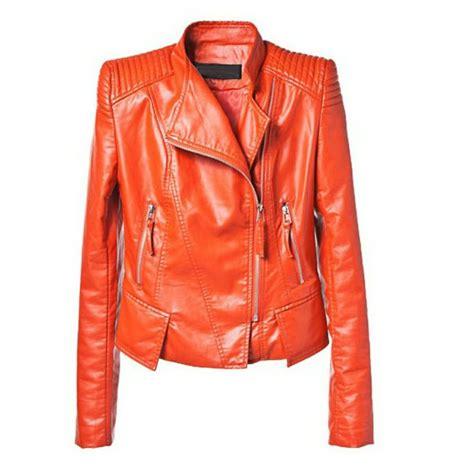 Orange Lapel Pu Leather Jacket Coatcheap In