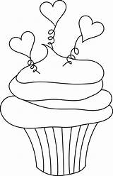 Cupcake Coloring Clipart Cupcakes Heart Pages Birthday Clip Stamps Outline Stamp Valentine Digital Hearts Template Digi Printable Cliparts Print Outlines sketch template