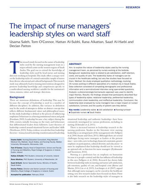 impact  nurse managers leadership styles