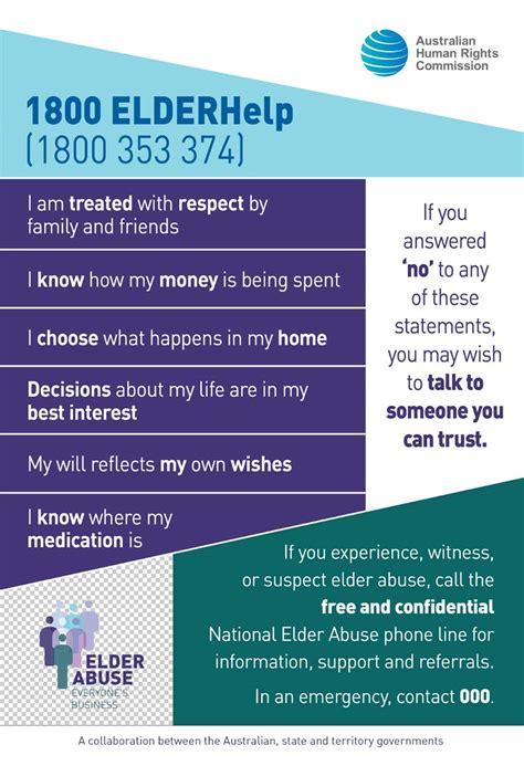 elder abuse bookmark  australian human rights